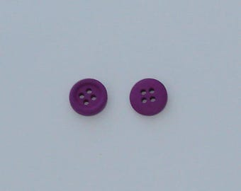 6 buttons round purple wood with bow 13 x 3, 5mm