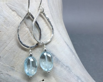 Earrings Topaz blue oval gemstone dangle teardrop sterling silver handmade hammered unique genuine Birthstone summer everyday pale simple