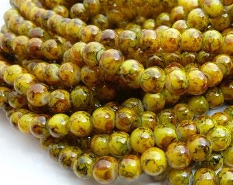 Goldenrod Yellow Mottled Round Glass Beads - 6mm Bohemian Beads - 32pcs - BN16