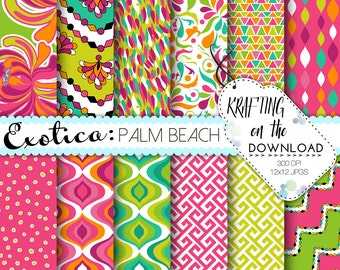 exotic digital paper pucci print digital paper pack instant download pink and coral summer paper pack exotic paper packs scrapbooking pages