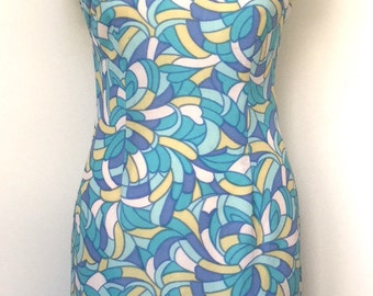 Vintage Crimplene sleeveless 60s dress size 10