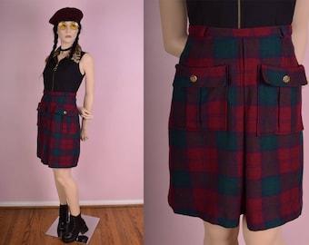 70s Plaid High Waisted Skirt/ 24 Waist/ 1970s