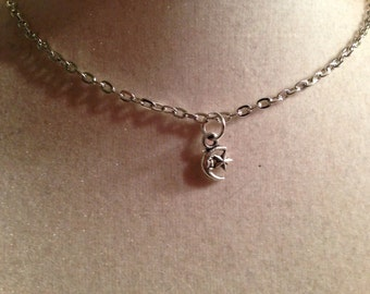 Moon and Star Necklace - Silver Jewelry - Pendant Jewellery - Children - Girls - Chain