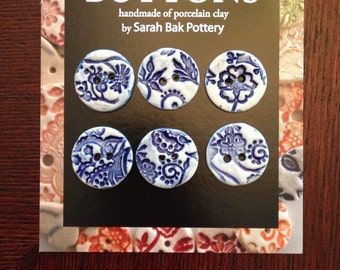Blue and White porcelain buttons, set of six