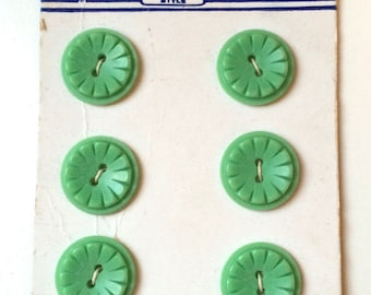 Set of Six Vintage Mint Green Buttons - Styled Buttons