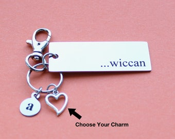 Personalized Wiccan Key Chain Stainless Steel Customized with Your Charm & Initial - K165