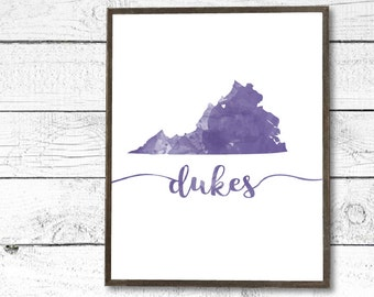 JMU James Madison Inspired Dukes Virginia Watercolor Instant PDF Printable Download - College/University/Dorm Decor, Wall Art Sign, Purple
