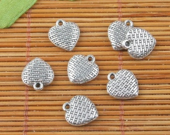 40pcs tibetan silver tone 2sided texture heart shaped charms h3982