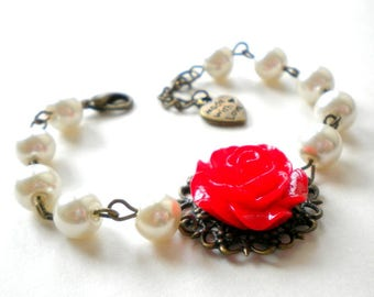 Red Bridesmaid Bracelet Red Wedding Jewelry Romantic Bracelet Red Bridesmaid Jewelry Red Rose Bracelet Rose Wedding Jewelry Flower Bracelet