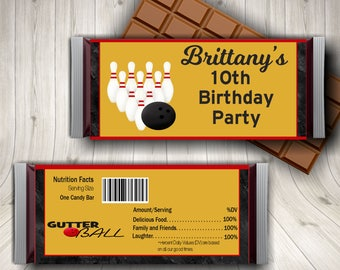 Bowling Party, Bowling Birthday, Candy Bar Wrapper, Bowling Party Favors, Bowling Printable, Customized Bowling, Kids Bowling, Bowling Favor