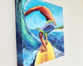 "Surfer painting by Patricia Piffath, 10"" x 10"" gallery wrapped canvas painted on all sides.  Original acrylic surf painting."
