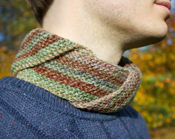 Granola Men's Nuzzler - Autumn Men's Fashion Accessories - Unisex Natural Coloured Cowl for Man or Woman - Neutral Cowls Infinity Scarves