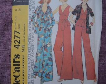 vintage 1970s McCalls sewing pattern 4277 misses unlined jacket top and pants size 14 UNCUT