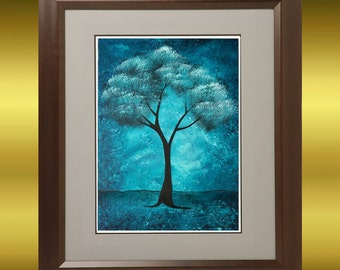 Abstract Tree Art Print - 8 x 10 -- The Spirit Within - Blue