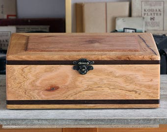 Trinket, Jewellery or Sewing Box - mid-sized box with multiple compartments made from recycled timber.