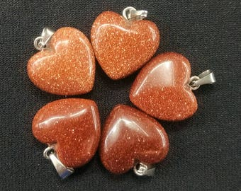 50pcs/lot - Synthetic Gold Sand Stone Heart Pendant 15mm - silver bail
