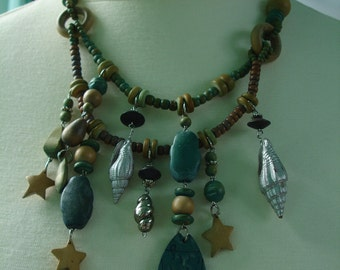 Statement wooden beads necklace - Brown, beige, teal, yellow, green- beach jewelry- Fishes, Stars, Shells,