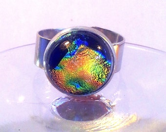 Dichroic glass cab on stainless steel adjustable ring green, gold  and blue