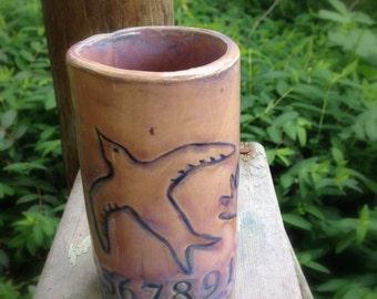 Release Shino OOAK ceramic Art tumbler