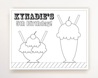 Ice Cream Party - Coloring Page - Ice Cream Birthday Party