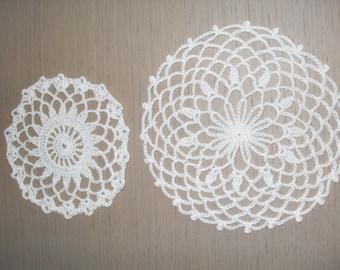 set of 2 crocheted doilies handmade