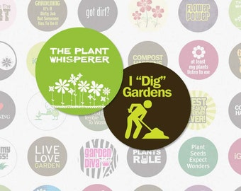 GARDENING - 1 Inch Circles Digital Collage Sheet for Bottle Cap Pendants, Magnets, Scrapbooking and More (Instant Download No. 617)