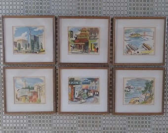 6 Vintage San Francisco Prints - Framed Golden Gate, Trolley, Chinatown, Coit Tower, Union Square, Cliff House - 1950's