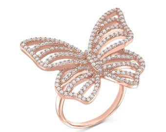 Contour butterfly ring - rose gold