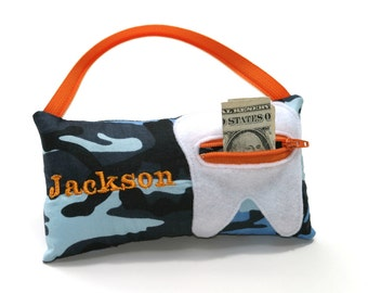 Blue Camo Personalized Tooth Fairy Pillow