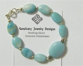 Sterling Silver Natural Amazonite Gemstone Bracelet...Handmade USA