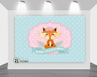 DIGITAL Printable Backdrop|| Fox/Woodland|| Birthday or Baby Shower|| Customizable|| Any Wording!|| You Print Your Files