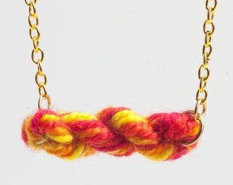 Neon Brights Skein of Yarn - Wool Necklace - Gift for Knitters & crocheters