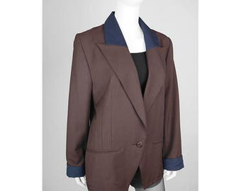 Vintage 1-button blazer made of material mix
