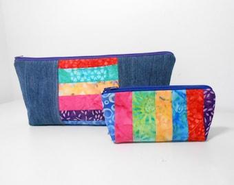 Denim and Batik Cosmetic Pouch Set, Denim Make Up Bag, Pieced Cosmetic Bag Set
