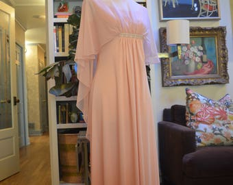 Glamorous vintage 1960s Emma Domb pink formal evening gown sheer chiffon cape overlay pearl embellishments XS / S extra small small