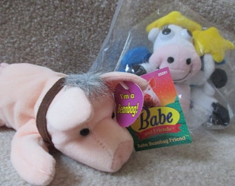 pair Vintage Babe the Pig and Cow Kraft Dairy Fairy beanbag toys NIP with hangtags plush farm animals