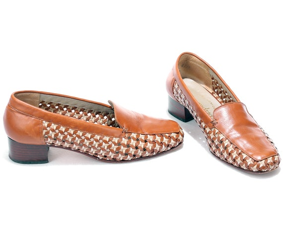 Woven Woven Heels 37 Heel Shoes 5 Loafer Italian Beige Leather Vintage 80s Style 4 6 Midi US EUR Retro Shoes UK Brown Shoes size Stacked q4twY