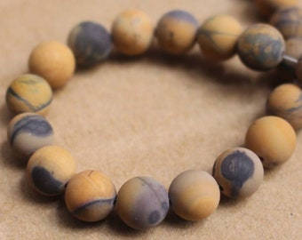 Matte Natural Yellow Banded Picture Jasper Gemstone Round Beads ,15'' per strand 8mm