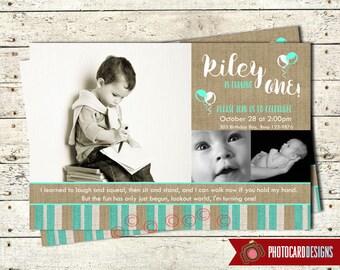 Boy Birthday Photo Invitation | Burlap | Card | Digital | Print file | invite | Boy Invitation | Balloon | Boy | 1st Birthday Invitation