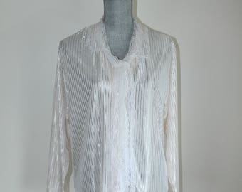 70s Semi Sheer Striped Blouse, Size Large, Lace Collar and Tie
