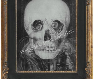 Skull Illusion Art Print 8 x 10 Fine Art Victorian - Couple Meeting - Metamorphic - Goth