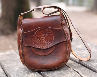 Vintage Small Shoulder Leather Bag, Symbol of birds