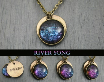"""River Song - Doctor Who Inspired - """"Spoilers"""" Hand Stamped Antique Bronze Necklace"""