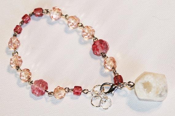 Pink Glass Beaded Bracelet with Large Druzy Rock - Silver Chain Bracelet - OOAK