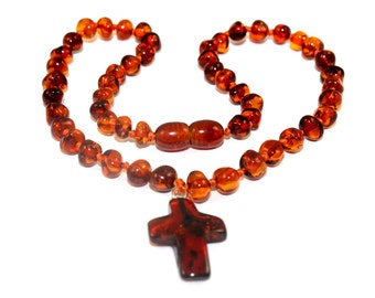 BALTIC AMBER Baby Teething Necklace with Cross with CERTIFICATES of Authenticity