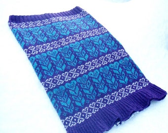 Nordic Heart Design Knitted Fairisle Snood Cowl Neck Warmer Purple & Blue