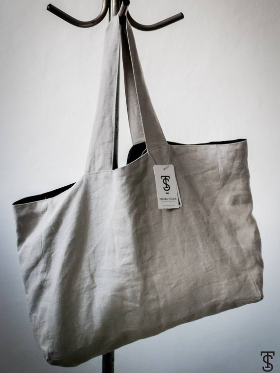 Black and Natural Linen Beach Bag Pv2PkP7l