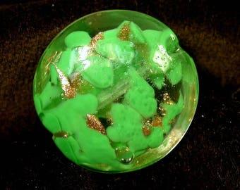 Vintage GIVRE Glass Bead VENETIAN Green AVENTURINA 21mm pkg1 gl493