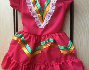 Mexicanita Dog girl costume/ Mexican Dog girl dress/  Mexican dog-outfit for Cinco de Mayo/ Cinco de Mayo Dog girl dress/ Mexican dog dress