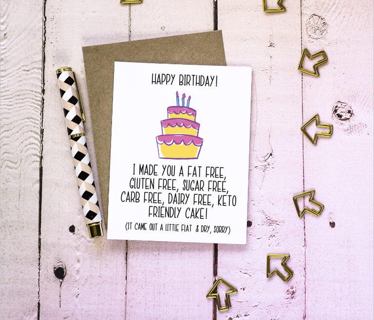 Low carb birthday funny birthday card keto birthday card zoom bookmarktalkfo Images